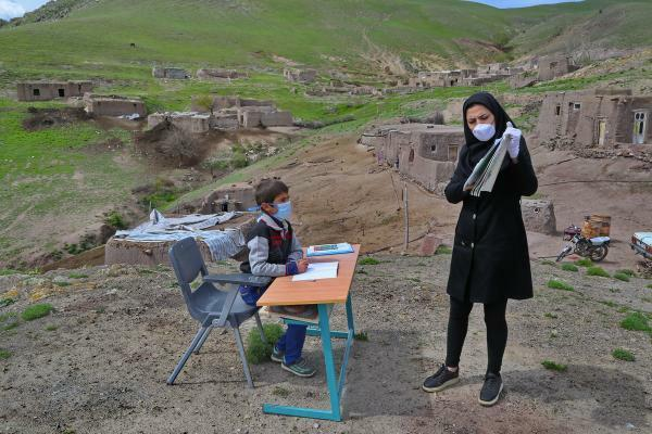 A teacher in a village in Western Azerbaijan Province visits its student even during Coronavirus outbreak in Iran